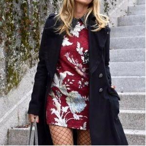 NWT 🐉 Zara Jacquard Embellished Collar Dress